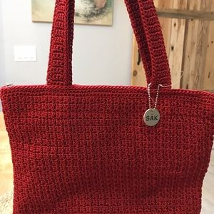 The Sak Crocheted-Knit Tote Brick Red-NWOT